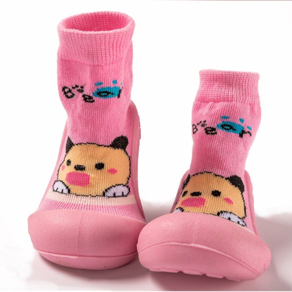 Boys Girls Baby First Walking Sock Shoes Rubber Sole