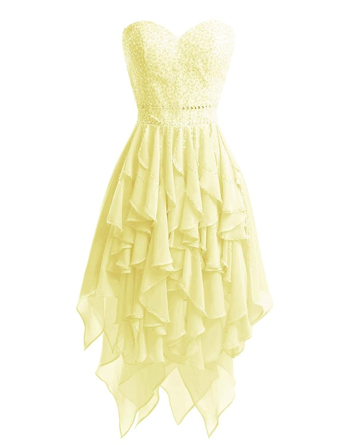 MorySong Sweetheart High Low Beaded Ruffles Short Prom Party Cocktail Dress