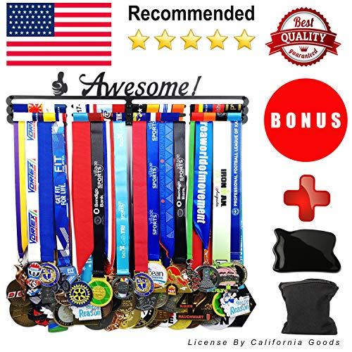 Medal Hanger Awards Holder Display Rack for 60 Medals Use for All Sports Black Steel Medal Hanger Holder,Race Medal Display Holder,Running Medal Hangers,Hanger formedals,Bonus Wrist Wallet Included - Plaque Hockey Award