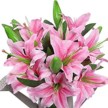 amyhomie artificial flowers artificial lily fake flowers for wedding decoration easter decorations silk
