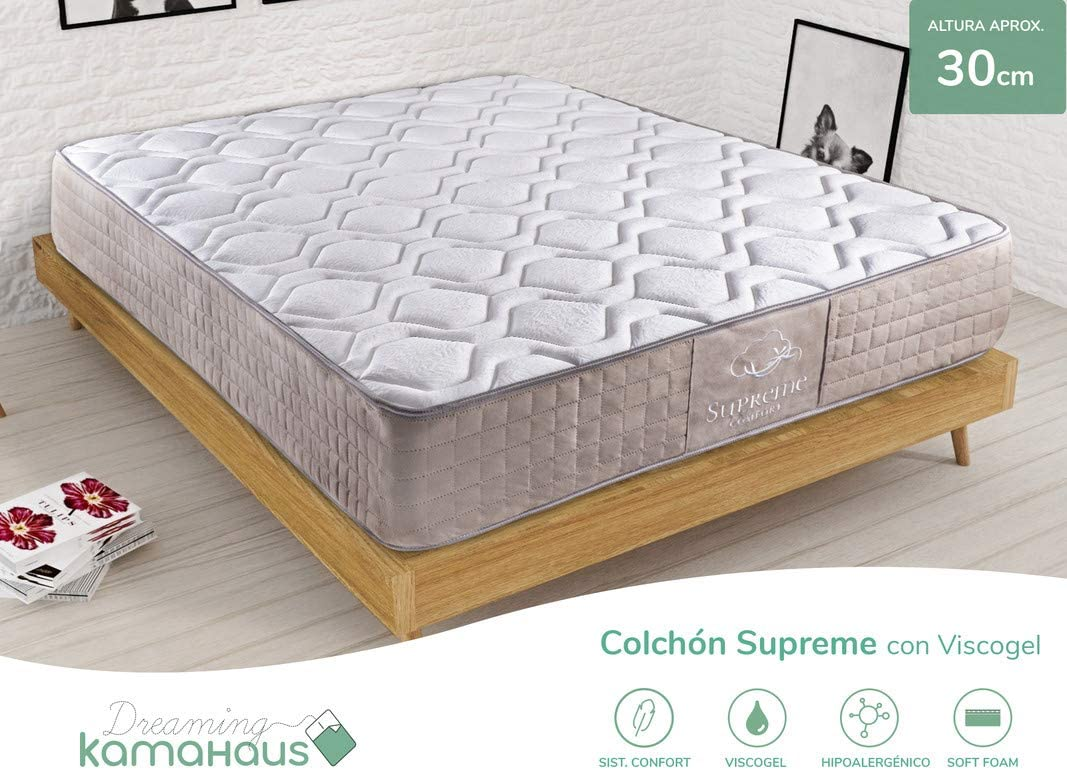 Dreaming Kamahaus Colchón Supreme Thermal Comfort con ViscoGel 105x200 cm. | Gama Alta | con ViscoGel | Sistema Comfort Plus 8cm | Alta adaptabilidad y Confort | Antiestrés | Altura 30cm |