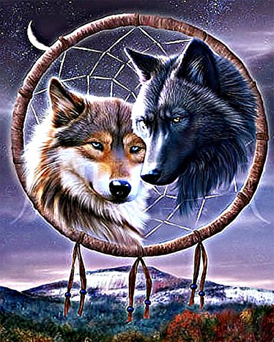 DIY Oil Painting, Paintworks Paint by Numbers Kit for Adults, Wolf Dream Catcher Painting Kit for Home Decor Frameless 16x20inch