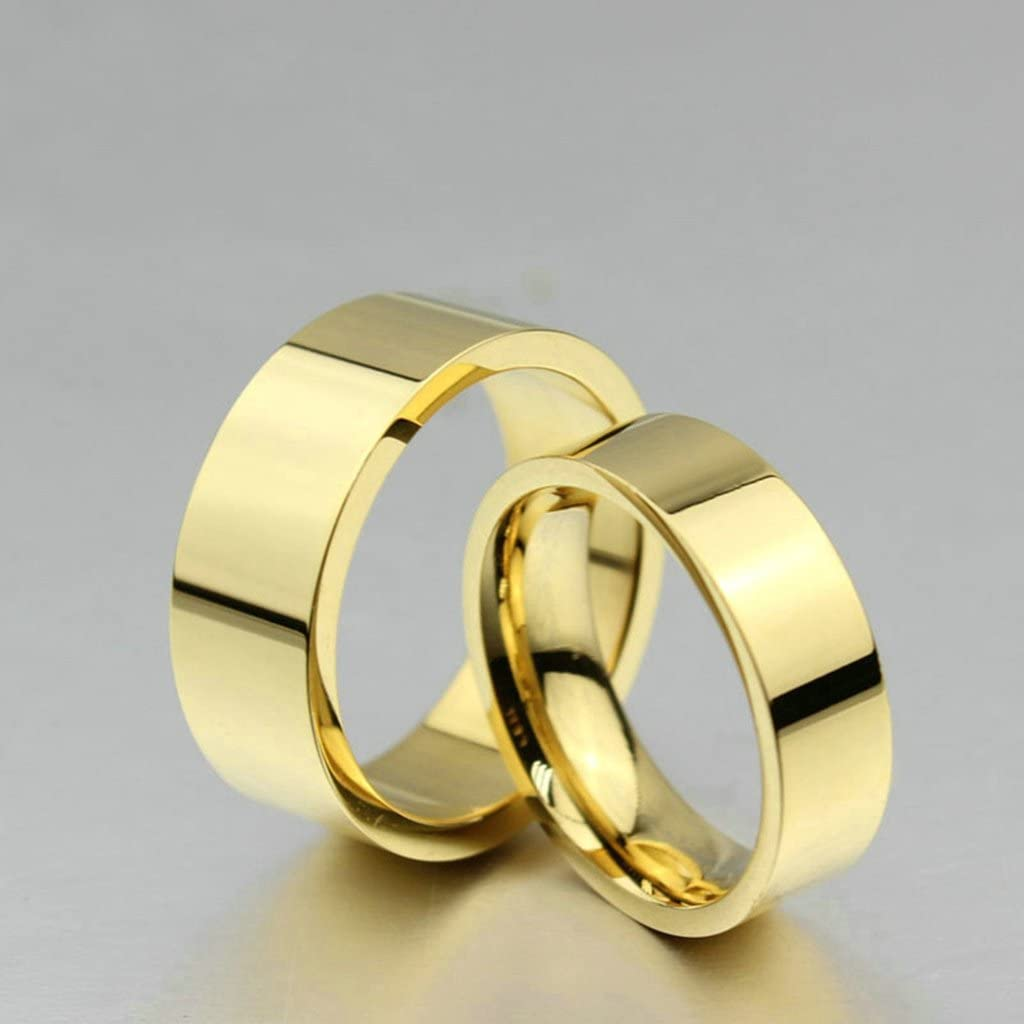 Epinki 6MM Stainless Steel Ring 18K Gold Plated Plain Design Classic Wedding Rings for Couple Size 7