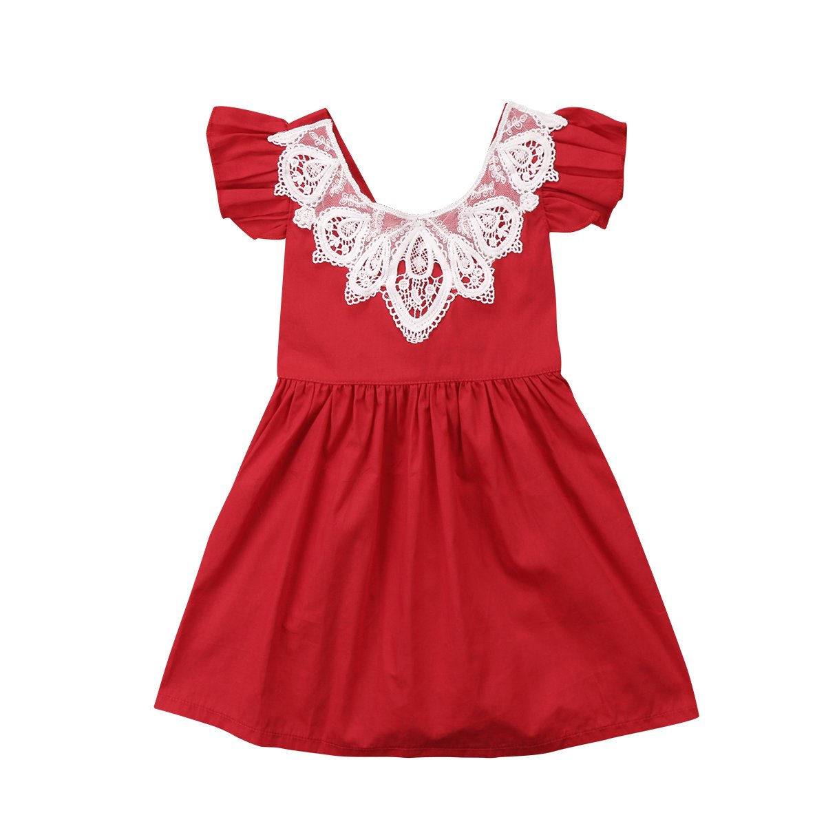 Infant Toddler Flower Girl Romper Lace Collar Cotton Ruffle Sleeve Baby Girls Spring Dresses (Red, 18-24 Months) GVFFHDIQ