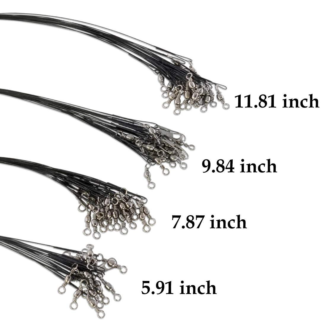 Stainless Steel Wires with Swivels and Snaps 30 LBS Test Soft Plastic Coated Wires ROSE KULI Fishing Leaders Line Set