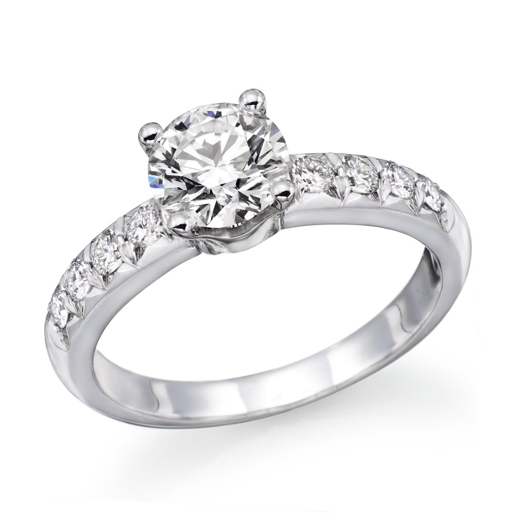 1.00 cttw GIA Certified Diamond Engagement Ring in 14k White Gold (1.00 cttw, I Color, VVS2 Clarity)