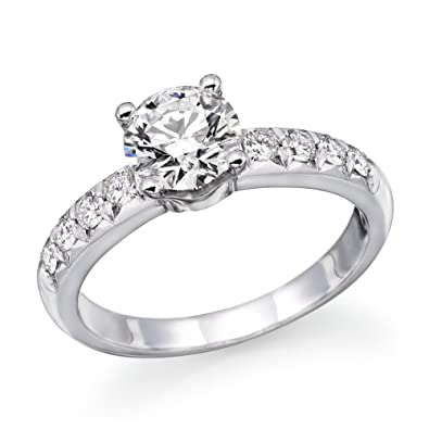 1.00 cttw GIA Certified Diamond Engagement Ring in 14k White Gold (1.00  cttw, I