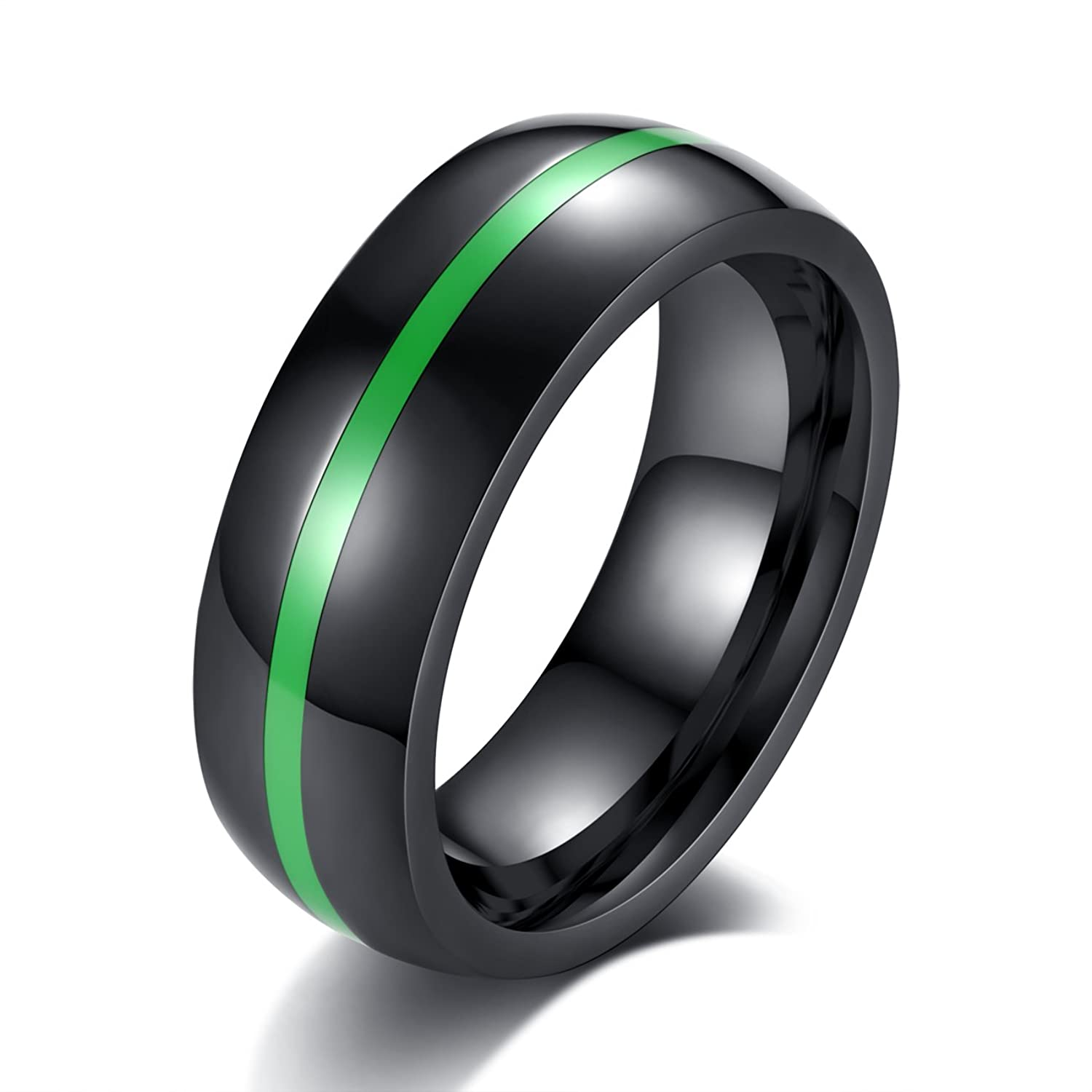 REVEMCN 8mm Black Stainless Steel Thin Line Polished Finish Wedding Band Ring For Men Women
