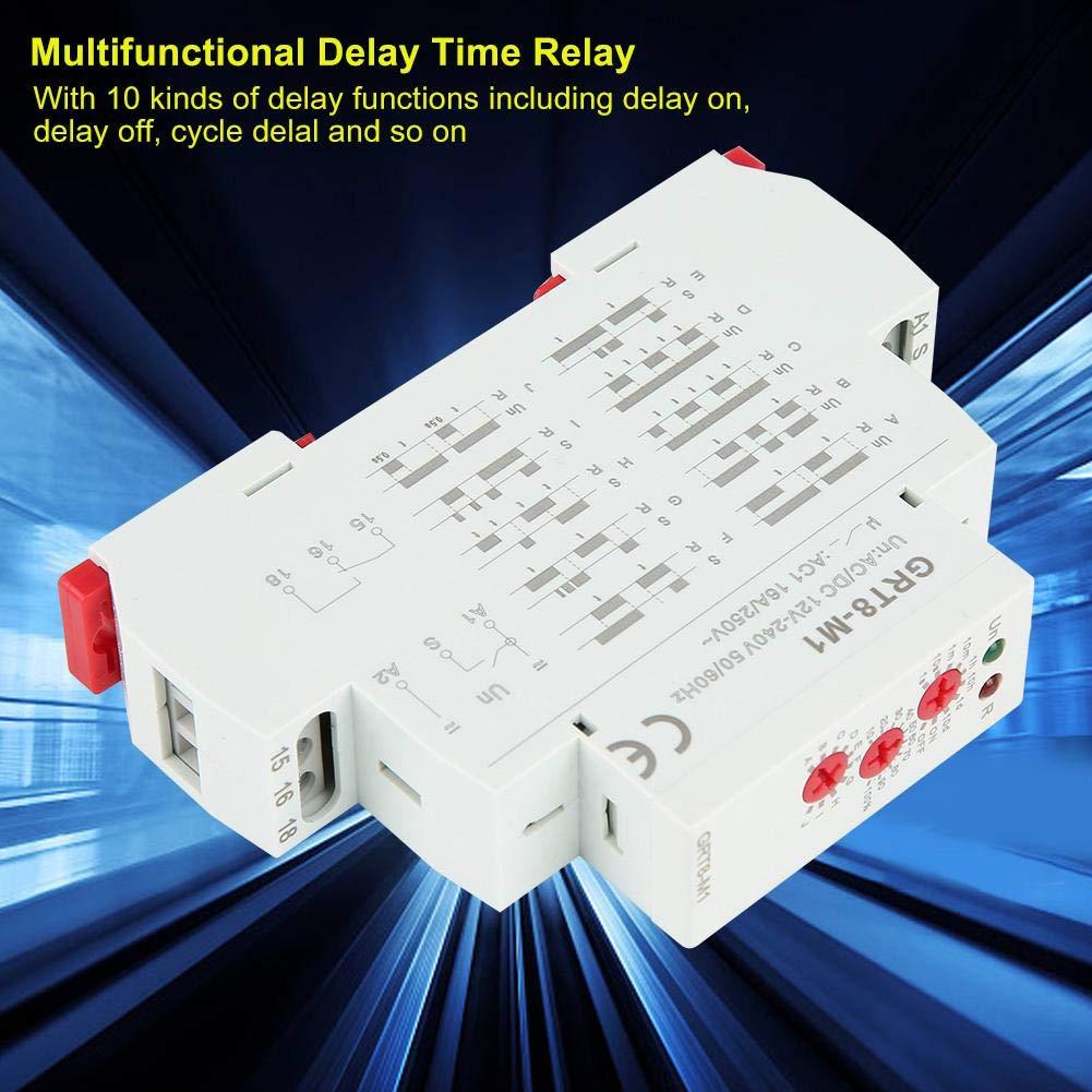 relais de temporisation multifonctionnel AC//DC 12V-240V avec 10 fonctions 35 mm /Montage sur rail DIN AC0.09-3VA//DC0.05-1.7W Relais de temporisation multifonctionnel GRT8-M2