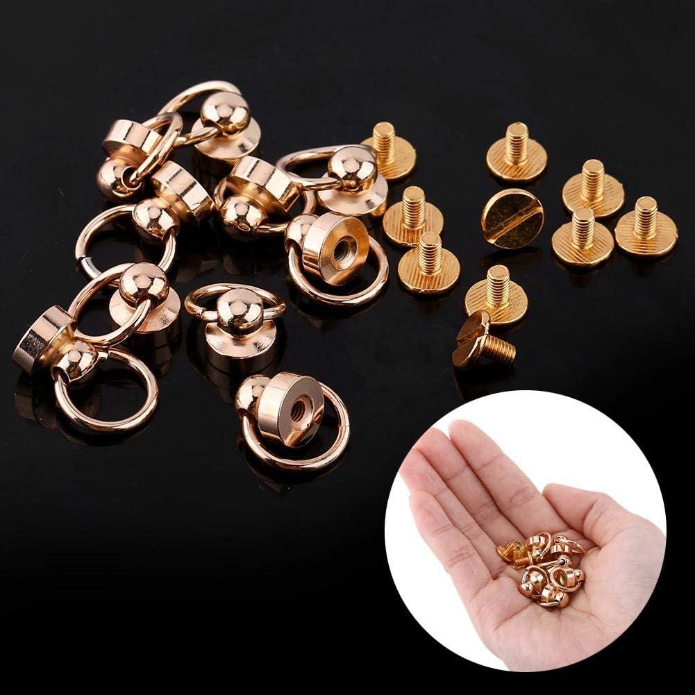 Yosoo Brass Rivet Studs Screw Back Round Head Ring Leather Craft Nipple Shape Accessories Decorations DIY for Belt Wallet Handbag 10pcs