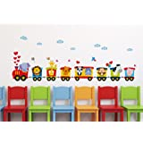 Decals Design 'Train of Joy with All Animals in it and Love' Wall Sticker (PVC Vinyl, 50 cm x 70 cm x 1 cm)