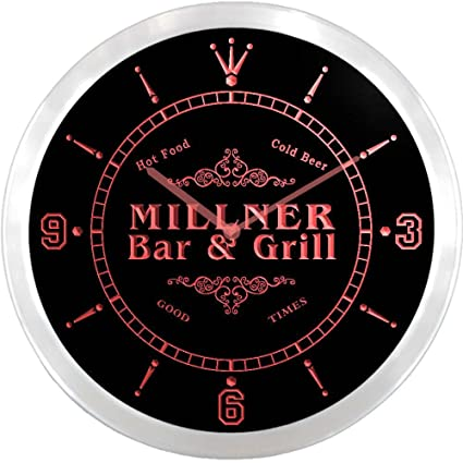 ncu30666-r Millner Family Name Bar & Grill Cold Beer neon sign LED pared reloj