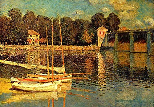 The Bridge of Argenteuil by Claude Monet French Impressionism Plein Air Landscape Peel and Stick Large Wall Mural Removable Wallpaper