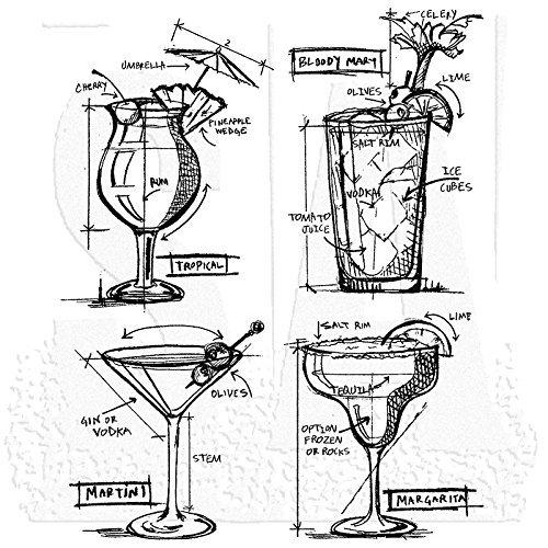 Tim Holtz CMS335 Cocktails Blueprint Cling Stamps, Multicolor