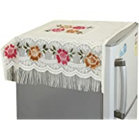 Yellow Weaves™ Floral Decorative Fridge Top Cover - (Off-White Color)