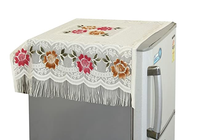 """Yellow Weavesâ""""¢ Floral Decorative Fridge Top Cover - (Off-White Color)"""