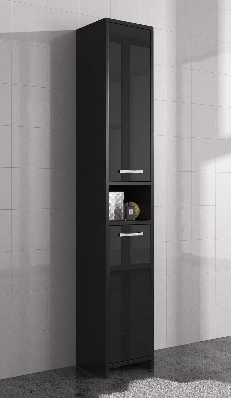 Badplaats Freestanding bathroom cabinet tall storage cupboard 168cm high gloss black bath furniture