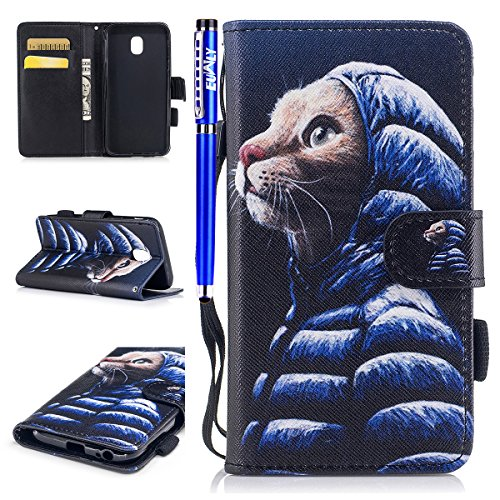 EUWLY Leather Case for Samsung Galaxy J3 2017 European Version Samsung Galaxy J3 2017 leather Wallet Case Cover with Sunflower Embossing and Hand Strap Lanyard PU Leather Folio Flip Bookstyle Wallet P Pattern #8 9ckarmZ