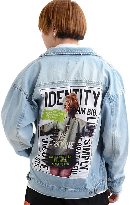 デニムジャケット Gジャン ジージャン オーバーサイズ ビッグシルエット アウター ジャケット デニム 大きめ メンズ レディース 服 韓国 ファッション フォト プリント 貼り付け ペアルック