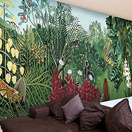 HUANGYAHUI Murals The Tropical Rainforest Animals Wallpaper Studio Tea Cafe Style Green Forest Trees