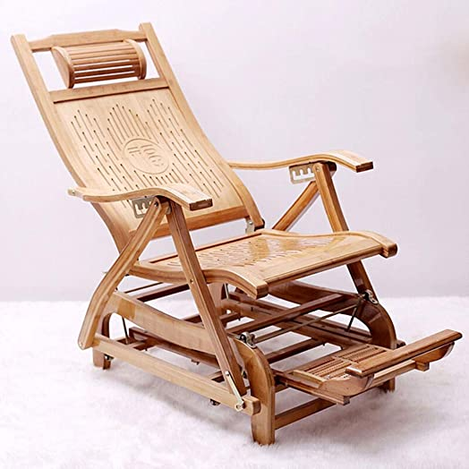 JFya Folding Chair Home Recliner Folding Easy Chair Balcony Leisure Lazy Lunch Break Siesta Chair Solid Wood Old Man Armchair Adult Rocking Chair