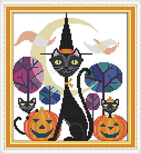Happy Forever Cross Stitch Cartoon, The black cat of (Halloween Black Cat Graph)