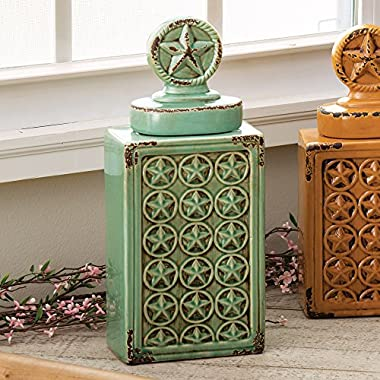 Western Star Ceramic Canister - Turquoise - Southwestern Kitchen Tableware