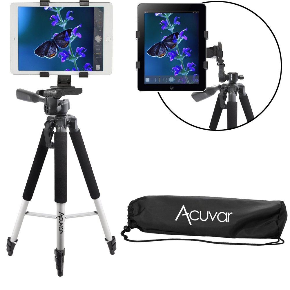 Acuvar 57'' Inch Pro Series Aluminum Tripod with an Acuvar Tablet Mount for Apple, Android and Most Other Tablets