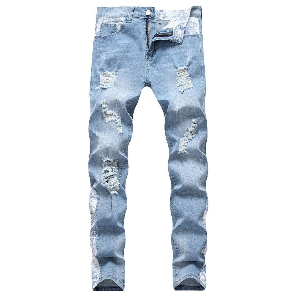 Aleola Men's Casual Denim Straight Hole Trouser Distressed Jeans Long Pants (Light Blue,42) by Aleola_Men's Pants