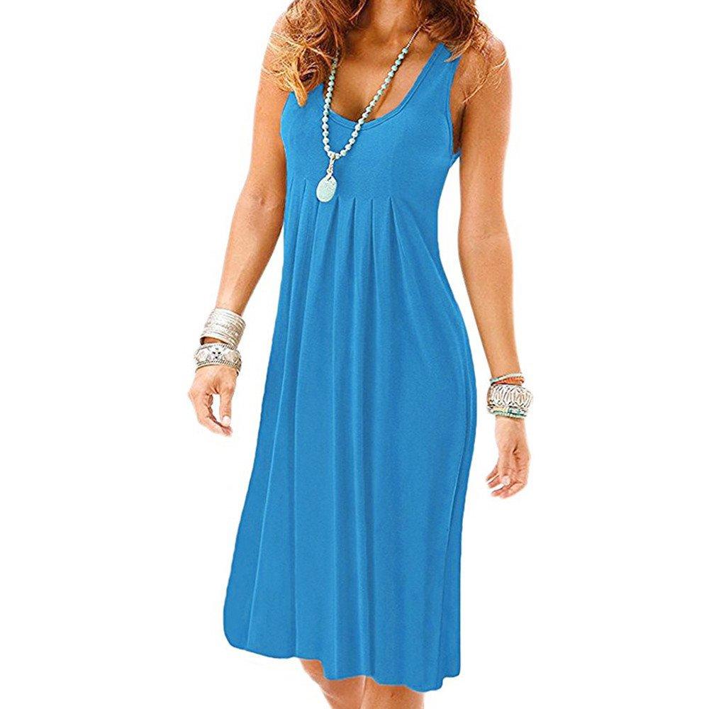 Libermall Women's Dresses Summer Sleeveless Halter Plain Pleated Tunic Mini Tank Dress Beach Sundress Blue