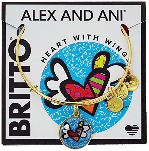 Alex and Ani Womens Heart with Wings Art Infusion Charm Bangle - Romero Britto