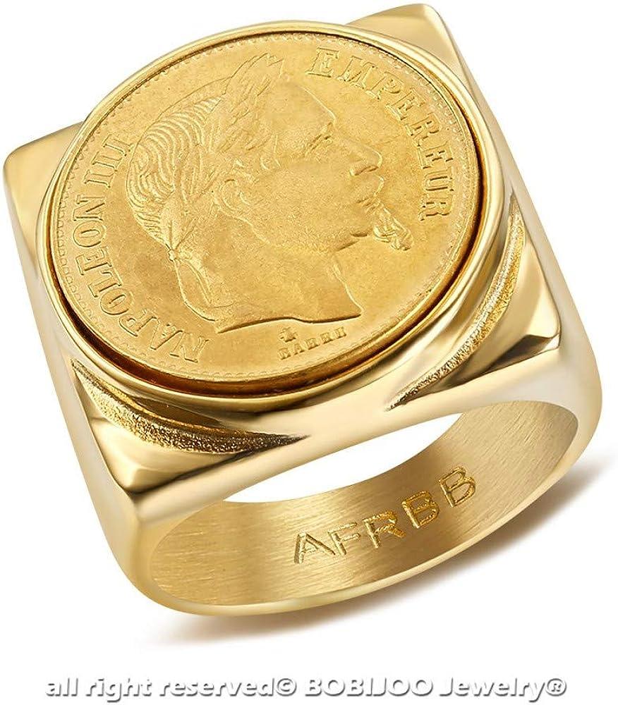 BOBIJOO Jewelry Chevali/ère Bague Napoleon III Pi/èce 20 FRS Acier 316L Carr/é Plein Empereur Louis