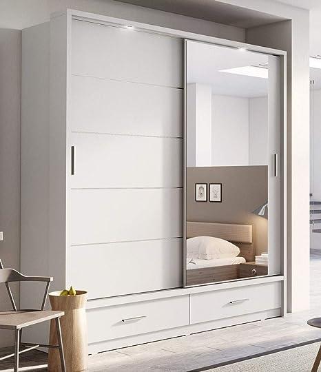 Arthauss - Armario Arti 5 con puerta corredera y espejo moderno de 200 cm para dormitorio en blanco mate: Amazon.es: Hogar
