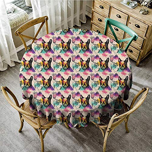 (DONEECKL Round Tablecloth Dog Lover Colorful Crystals Pattern Triangles Sixties Inspired Psychedelic Boston Terrier Picnic D59 Multicolor)