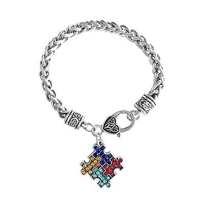 Uniqueen Autism Awareness Puzzle Jigsaw Classic Square Crystal Charm Bracelet Ojfp7