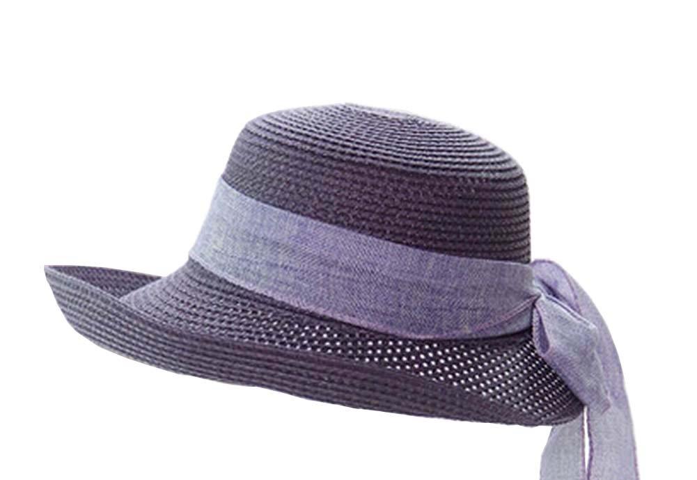 [Purple] Elegant Women Summer Straw Hat Beach Hat Sun Hat Wide Brim Hat