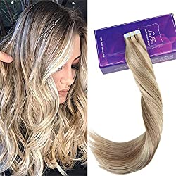 """LaaVoo 14"""" Highlight Human Hair Tape in Extension Piano Color #18 Ash Blonde and Color #24 Light Blonde Skin Weft 100 Human Hair Extension 20 Pieces 50 Gram"""