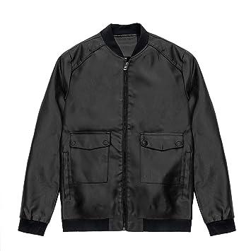 Hombre y niños chaqueta cuero Invierno,Sonnena ⚽ hombre casual chaqueta piel de ciclistas manga