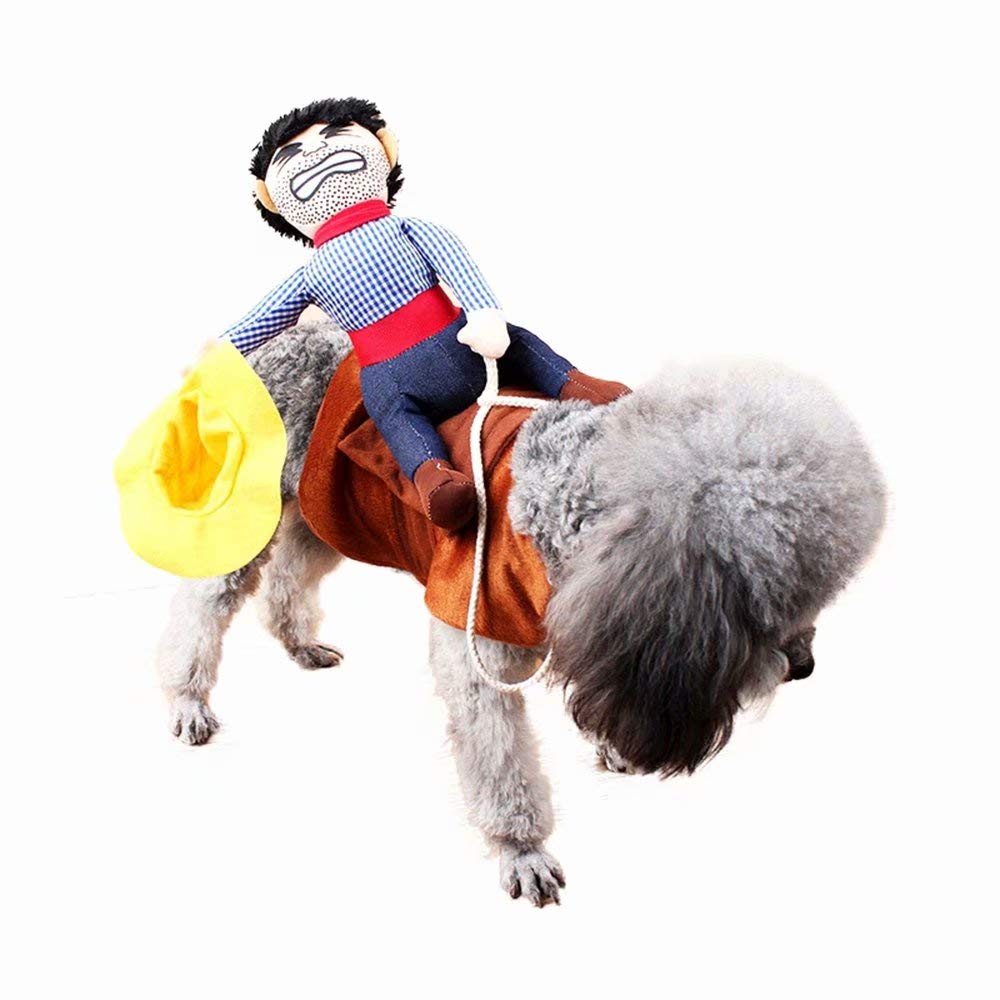 qiaoniuniu dog costume pet puppy suit cowboy rider style dog carrying costume for halloween christmas party photograph x large