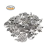 Teenitor Charms For Jewelry Making, 100 Gram Mixed Shape Stem Leaves Four Foliage Flowers Fruit Cake Ice Theme Assorted Antique Charms Pendant for Crafting, Jewelry Making Accessory - Silver