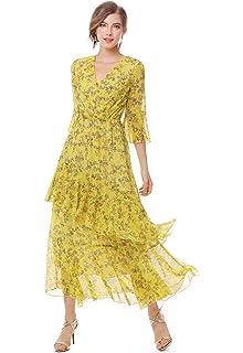 dd3f89a838 XINUO Womens Dresses Yellow Floral Maxi Dress V Neck High Waist Chiffon  Beach Summer Party Casual