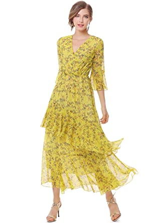 cd2de29aaec7 XINUO Womens Dresses Yellow Floral Maxi Dress V Neck High Waist Chiffon  Beach Summer Party Casual