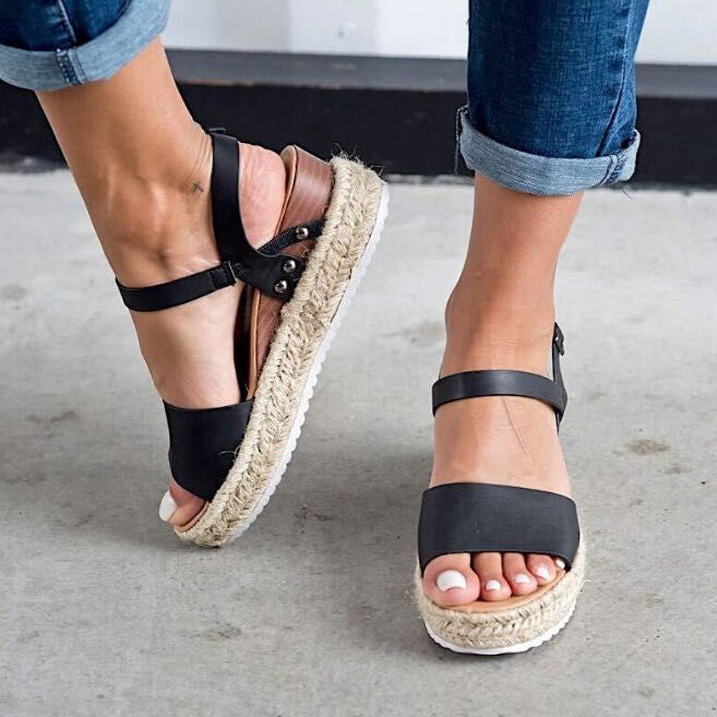 Women's Platform Sandals,Sharemen Espadrille Wedge Ankle Strap Studded Open Toe Sandals(Black,US: 6) by Sharemen Shoes (Image #3)