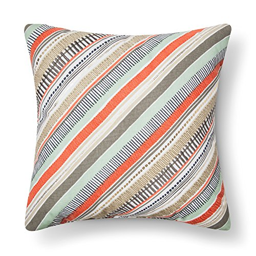 Room Essentials Diagonal Stripes Decorative Square Throw Pillow, Multi, 18x18 (1 Pack) - Salmon Stripe