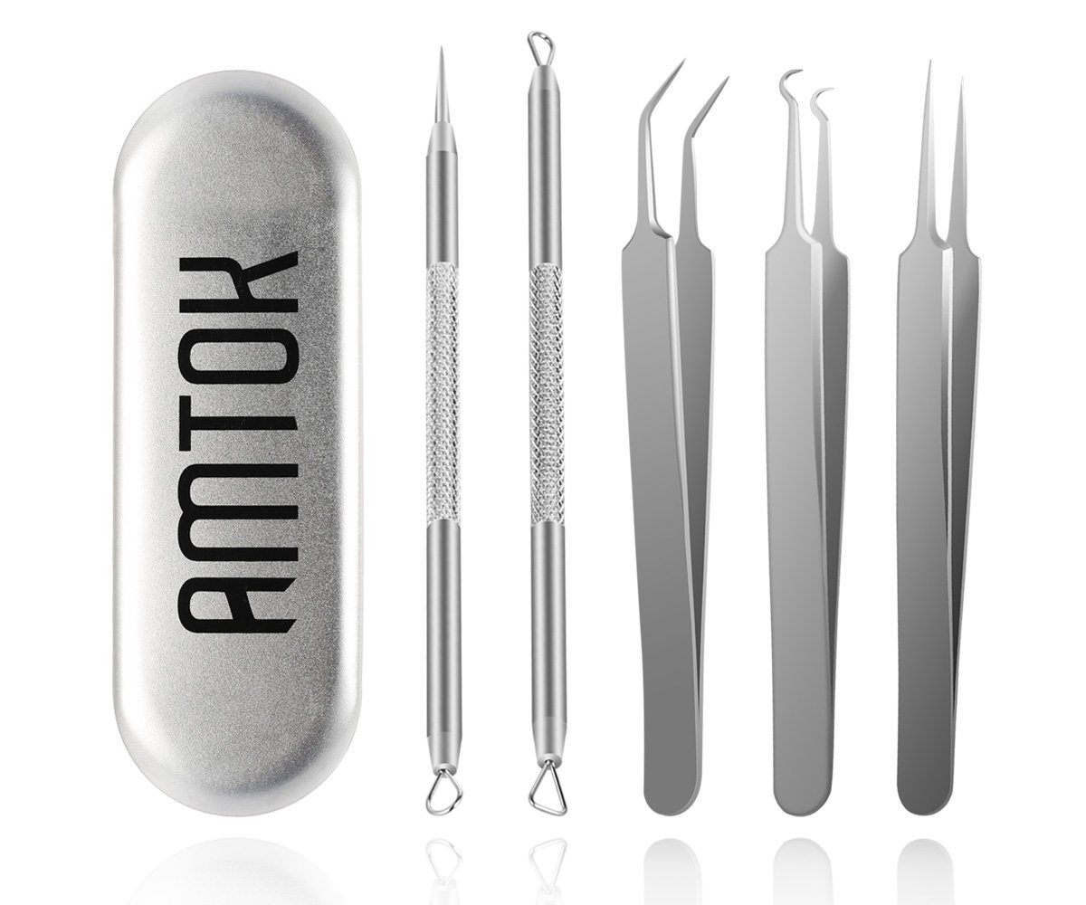 AMTOK Blackhead Comedone Extractor Tool Set & Acne Pimple Blemishes Remover Kit Whitehead Popping Removal Tweezers for Nose and Facial Skin Care Zit Treament