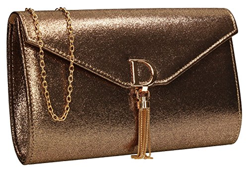 Rose Wedding Bag Dana Clutch SWANKYSWANS Gold Party Gold Womens Ladies Shiny Prom Metallic 6PH6O