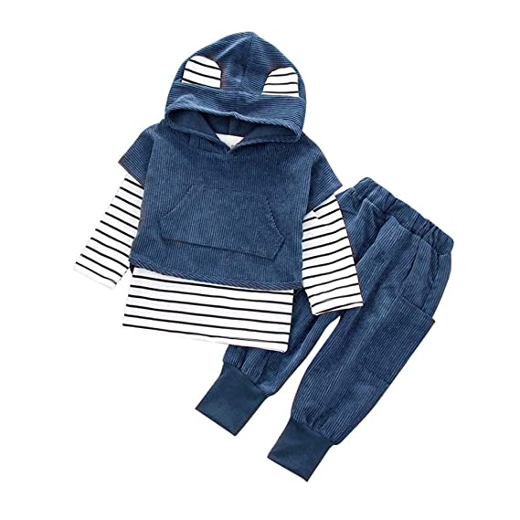 2a559564d Baby Clothes Unisex,Toddler Kids Baby Boy Girls Outfits Hooded Stripe T-Shirt  Tops