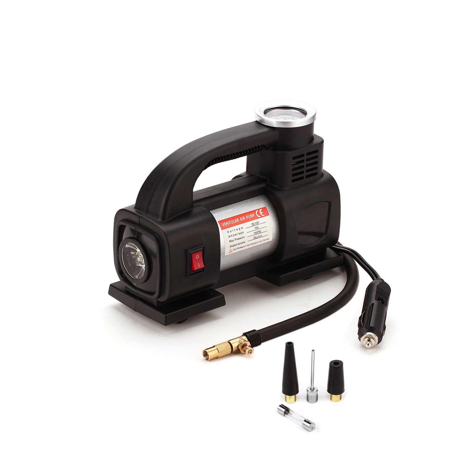 Portable Auto Air Compressor Pump Tire Inflator with Gauge by 100 PSI with Carry Bag Shiningeyes