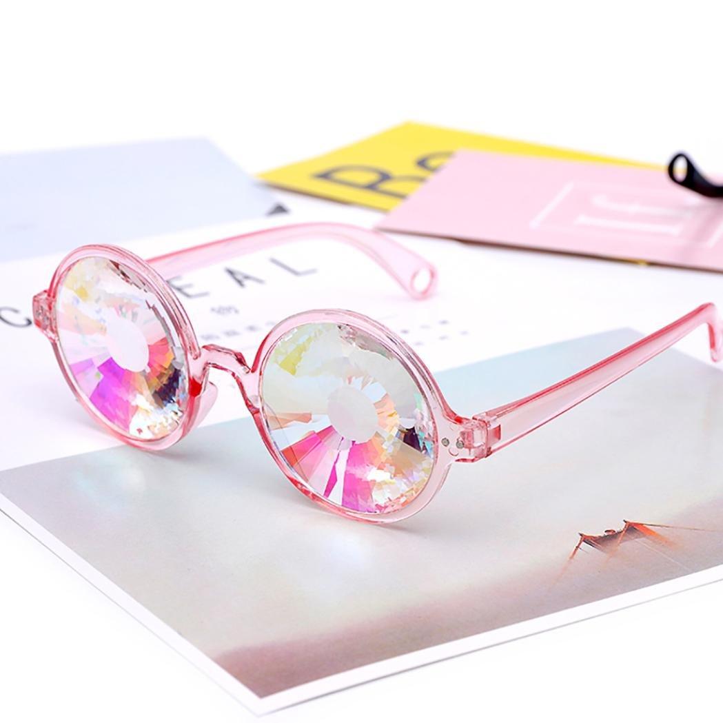Luoluoluo Occhiali da Sole Festival Caleidoscopio Occhiali Arcobaleno Prisma Occhiali da Sole Occhiali EDM Partito Occhiali da Sole Lente Diffratta