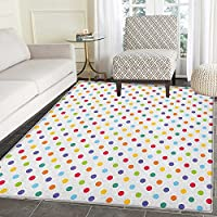 Abstract Area Rug Carpet Colorful Polka Dots Round Circular Vintage Fashion Girls Feminine Baby Design Customize door mats for home Mat 4x6 Multicolor